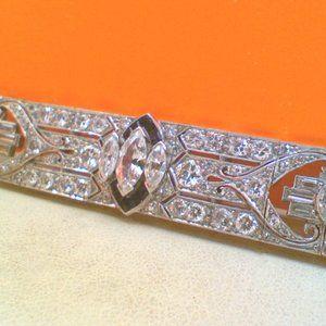 Art Deco Tennis Bracelet Platinum Sapphire Diamond